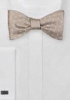 Fawn Hued Bow Tie with Polka Dots