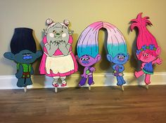 Trolls Movie Birthday Decorations/ Decor/ Rainbow Glitter Sparkles/ DJ Suki / Cooper/ Guy Diamond Outdoor / indoor/ girl's party/ girl party/ boy party/ cute/ colorful/ bridgette/ rainbow/ glitter/ bergens 5 Trolls Yard Signs / Birthday Party / Trolls Birthday /
