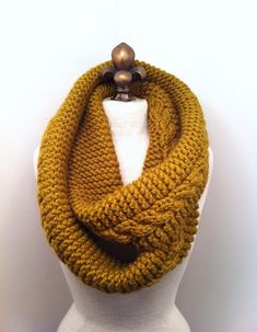 This cool ! Love it. Chunky Infinity Scarf Loop Cowl - Golden Olive - MADE TO ORDER  http://www.luulla.com/product/45906/chunky-infinity-scarf-loop-cowl---golden-olive---made-to-order#