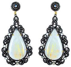 14k Gold Moonstone Diamond 3.69 Ct Pave Dangle Earrings 925 Silver Antique Style #Handmade