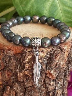 Natural Black Pearl & Sterling Silver Feather Mens by tovvanda