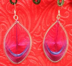 """Retro Woven Pink Peacock Earrings OOAK Jewelry , $4.25    2"""" in length  * Hypo-Allergenic French Hooks  * Silver Peacock feather shape frames  * Pink"""