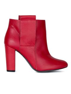 By Larin. Red leather ankle boot.  #Fashion #Women #Boots #Shoes