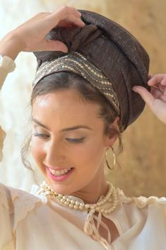 """🍀🌺Our Head Coverings - """"Mitpachot"""" were created for covering all your hair, but can also be folded to show only some hair. Our fabrics are comfortable and of superior quality. Rides Front, Modest Wear, Turban Style, Mode Chic, Scarf Hairstyles, How To Make Hair, Head Coverings, My Beauty, Flowers In Hair"""