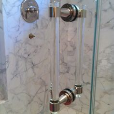 Old town glass recent shower door installation featured a portals hardware glass and polished nickel handle. The shower glass is a low iron starphire tempered glass.