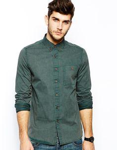 Image 1 ofASOS Twill Shirt In Acid Wash With Long Sleeves