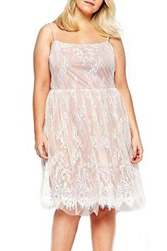 Angl Lee Womens Big Girl Sweet Lace Sleeveless Skater Dress 3xl2224 white >>> You can find more details by visiting the image link.