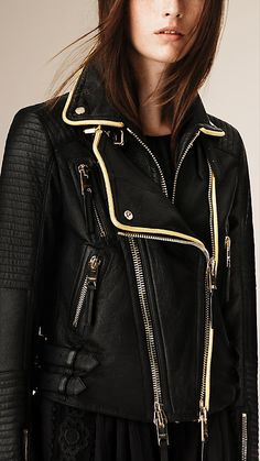 A classic biker jacket in supple, natural grain lambskin from Burberry. Discover the women's outerwear collection at Burberry.com
