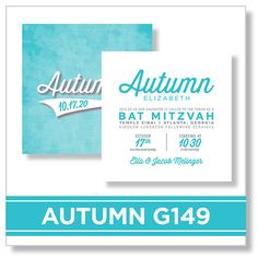 Autumn G149 EventPrints Modern and Sophisticated Bar and Bat Mitzvah Invitations  EventPrints, Bat Mitzvah Invitation, Bar Mitzvah Invitations, B'nai Mitzvah Invitation, B'not Mitzvah Invitation, customizable  invitations, unique, modern, Atlanta, http://www.eventprints.com Sports, teal