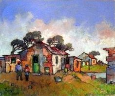 Theys, Conrad | Shacks | Pastel | Code : 6750 | Size : 255 x 310mm | Sold. Brighton College, South Africa Art, Africa Painting, National Art Museum, Native American Quotes, South African Artists, Art Society, Urban Sketching, Ares