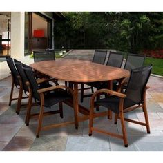 Gables 9-Piece Wood/Sling Extendable Oval Patio Dining Furniture Set