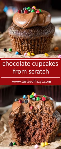 Easy chocolate cupcakes from scratch! You'll love the soft, buttery chocolate flavor in this easy chocolate cupcake recipe. Top with homemade sour cream frosting for a double chocolate delight. via @tastesoflizzyt