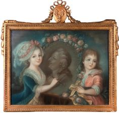 A portrait of two of the children of Louis XVI drawing a portrait of him. Unknown French artist, 18th century.; treasure for your pleasure: marie antoinette