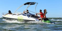 The 'Wave Boat created by boating firm Sealver based in the South West of France, comes with an optional sun-roof, cushioned-seating and four storage compartments. Wave Boat, Sun Roof, Farm Hero Saga, Jet Ski, Boating, Mail Online, Daily Mail, Skiing, Beach House