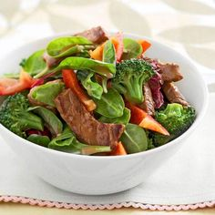 Gingered Beef & Broccoli Salad Bowl.  Might try this as I attempt to reduce the amount of carbs (esp. white rice) I've been eating