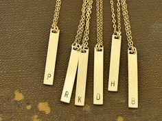 bridesmaid gift wedding gift INITIAL BAR NECKLACE by plasticouture