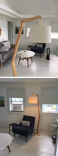 Articulated Floor Lamp – With Yardsticks! Drum Chair, Recycled Plastic Adirondack Chairs, Make A Lamp, Wood Lamps, Cool Chairs, Fun Projects, Total Cost, Floor Lamp