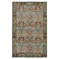 New Zealand Wool Rug With A Floral Design In Green And Beige. Hand Tufted