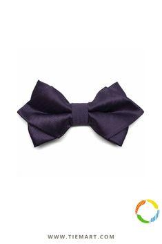 TieMart Boys Dark Purple and Turquoise Striped Bow Tie