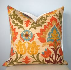 decorating with orange, yellow and turquoise | Adobe Floral Orange, Yellow, Green, Turquoise Decorative Pillow Cover ...