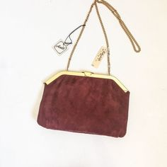 Vintage Purse    Deadstock Ande Handbag Genuine Lamb Suede Rothschild s  Clutch   Shoulder Bag   Maroon Suede W  Gold Tone Frame and Chain cddc853be6
