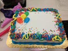 Balloon sheet cake Creative Cake Decorating, Birthday Cake Decorating, Cake Decorating Techniques, Creative Cakes, Cupcakes Design, Birthday Sheet Cakes, First Birthday Cakes, Pastel Rectangular, Bolo Neon