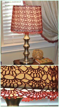 Crochet Red Beaded Lamp Shade Free Pattern - Crochet Lamp Shade Free Patterns