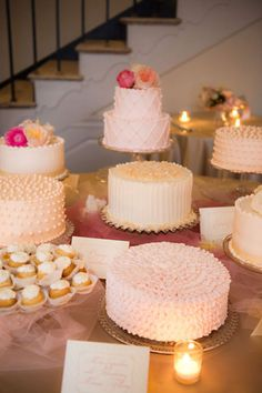 I love the idea of many textured cakes in similar hues on one display!