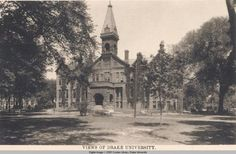 Drake University Old Main.  Old Main was the first building constructed on the Drake University campus, followed by the Science Hall in 1893.