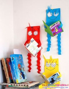 DIY Children's : DIY Our favourite reading figures Fun Crafts, Crafts For Kids, Paper Crafts, School Projects, Projects For Kids, School Library Decor, School Decorations, Library Displays, Toddler Crafts