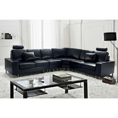 @Overstock - Stockholm Black Contemporary Design Sectional Leather Sofa by Beliani - Straight lines and a clean contemporary design are the reasons why this sectional sofa is so popular. With plenty of family seating or seating for friends during a big game, this leather couch surely beautifies the living room.    http://www.overstock.com/Home-Garden/Stockholm-Black-Contemporary-Design-Sectional-Leather-Sofa-by-Beliani/7972856/product.html?CID=214117  $2,199.99