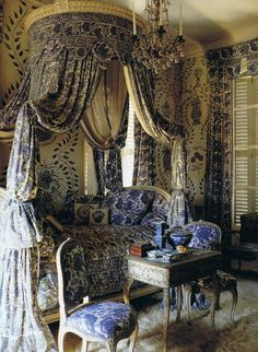 Bedroom, handpainted walls, mix of blue prints, swags of fabric, ten foot high ceilings, crystal, Louis XV chairs and small console table from World of Interiors April '94 Trouvais