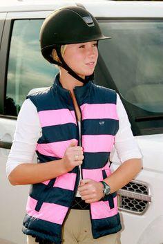 Equestrian Style vineyard vine striped puffer vest