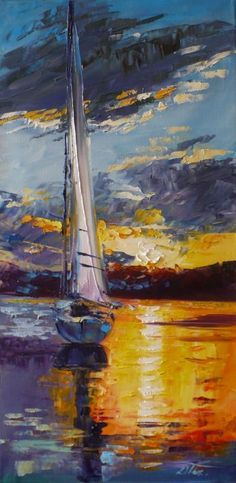Sailboat: Paintings Impressionism Canvas Oil Boat Marine Seascape