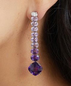 Amethyst and diamond ombré drop earrings from the Kwiat vault! Amethyst and diamond ombré drop earrings from the Kwiat vault! Purple Jewelry, Jewelry Accessories, Jewelry Design, Jewelry Ideas, Jewelry Websites, Silver Jewelry, Gold Diamond Earrings, Drop Earrings, Sapphire Earrings