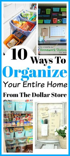 10 Ways To Organize Your Entire Home From The Dollar Store - I've collected some great ways to organize your entire home from the dollar store. We have every room in your house covered (the kitchen, laundry, bathroom, playroom and more!) Home organizing ideas, dollar store organization, dollar store crafts, kitchen organizing ideas, freezer organizing ideas