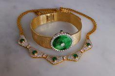 Vintage Emerald Diamond Necklace , 18k Gold : Gem Gardener | Ruby Lane Bracelet Set, Necklace Set, Dainty Necklace, Gold Bodies, Fine Watches, Jade Pendant, Emerald Diamond, Brilliant Diamond, Modern Jewelry