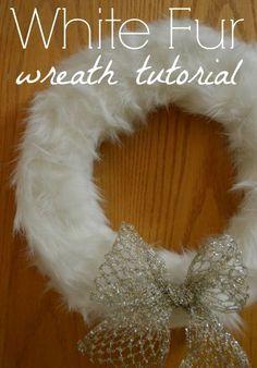 White Fur Wreath Tutorial - theblueeyeddove.com