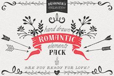 Posted by @newkoko2020 Hand Drawn Romantic Decoration Pack by kite-kit on @creativemarket