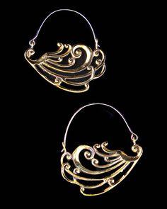 Art Nouveau Earrings - Peacock Earrings - Hoop Earrings - Gold Earrings