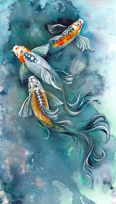 Realistic Drawing Techniques Image detail for -Because of their vibrant colors and peaceful demeanor the koi fish . Koi Painting, Silk Painting, Koi Art, Fish Art, Fish Fish, Watercolor Fish, Watercolor Animals, Art And Illustration, Illustrations