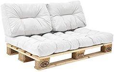[en.casa] 1x Coussin de dossier pour canapé d'euro palette [blanc] Coussin de palettes In/Outdoor rembourrage meuble