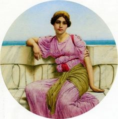 """On The Terrace""  by  John William Godward. Dates:	1918 Artist age:	Approximately 57 years old. Dimensions:	Height: 20 cm (7.87 in.), Width: 20 cm (7.87 in.) Medium:	Painting - watercolor."