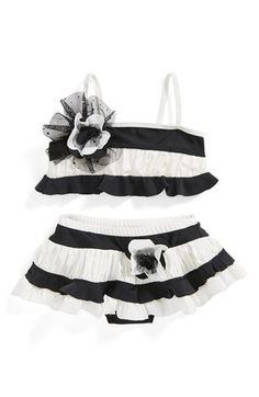 Isobella & Chloe 'Sparkling Tide' Two-Piece Swimsuit (Toddler Girls) at Nordstrom.com. She'll love the ruffles of this sparkle-tipped swimsuit in a modern monochromatic palette.