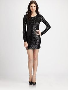 simple, black sequin dress for Winter and holiday glamour
