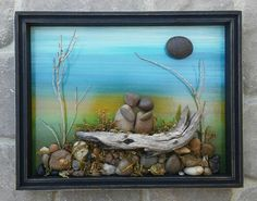 Another vintage frame find! It came with a wood backboard that i painted a scenery on. Then just added real sage clippings for the trees...some rocks and pebbles..and a log for the sweet couple to sit on. Also on ETSY in CRAWFORD BUNCH