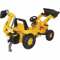 Caterpillar Tractor Pedal Car Ride On Backhoe Front End Loader Kids Toddler Gift