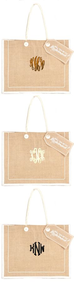 Attention Brides!! Ask your girls to be bridesmaids in style with this adorable Monogrammed Bridesmaid Jute Tote! Marleylilly.com  #bridal #wedding #bride #bridesmaids