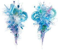 """Updroplet, 2012, 30"""" x 24"""" x 24"""", plastic debris (PET), rivets, tinted polycrylic + mica powder www.aurorarobson.com"""