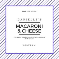 Recipe for the best homemade macaroni and cheese out there!  https://www.sweetfrivolity.com/single-post/2017/04/18/Best-Macaroni-and-Cheese-Recipe